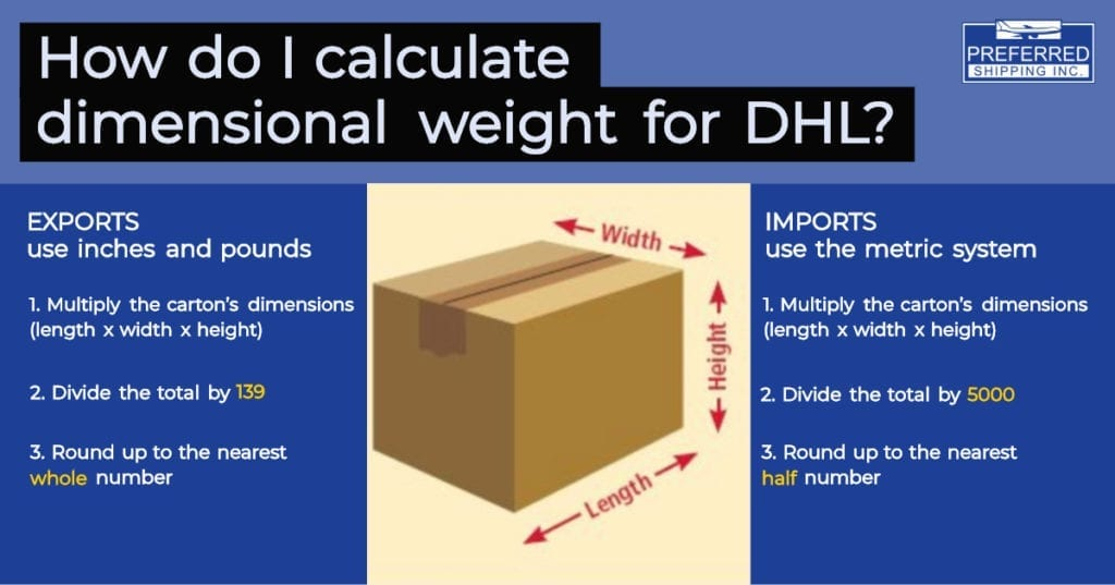 How do I calculate dimensional weight for DHL? | Preferred