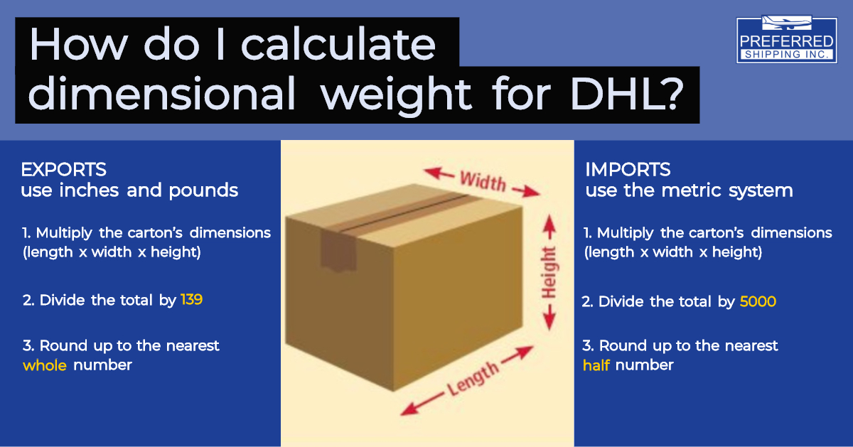 How do I calculate dimensional weight for DHL?   Preferred