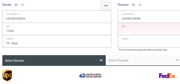 When the United States is shown as the receiver country, DHL is not listed as an option.